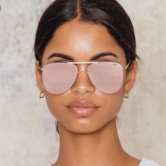 ed922aad726 Le Specs Accessories - Le Spec Prince Pink Mirrored Aviator Sunglasses